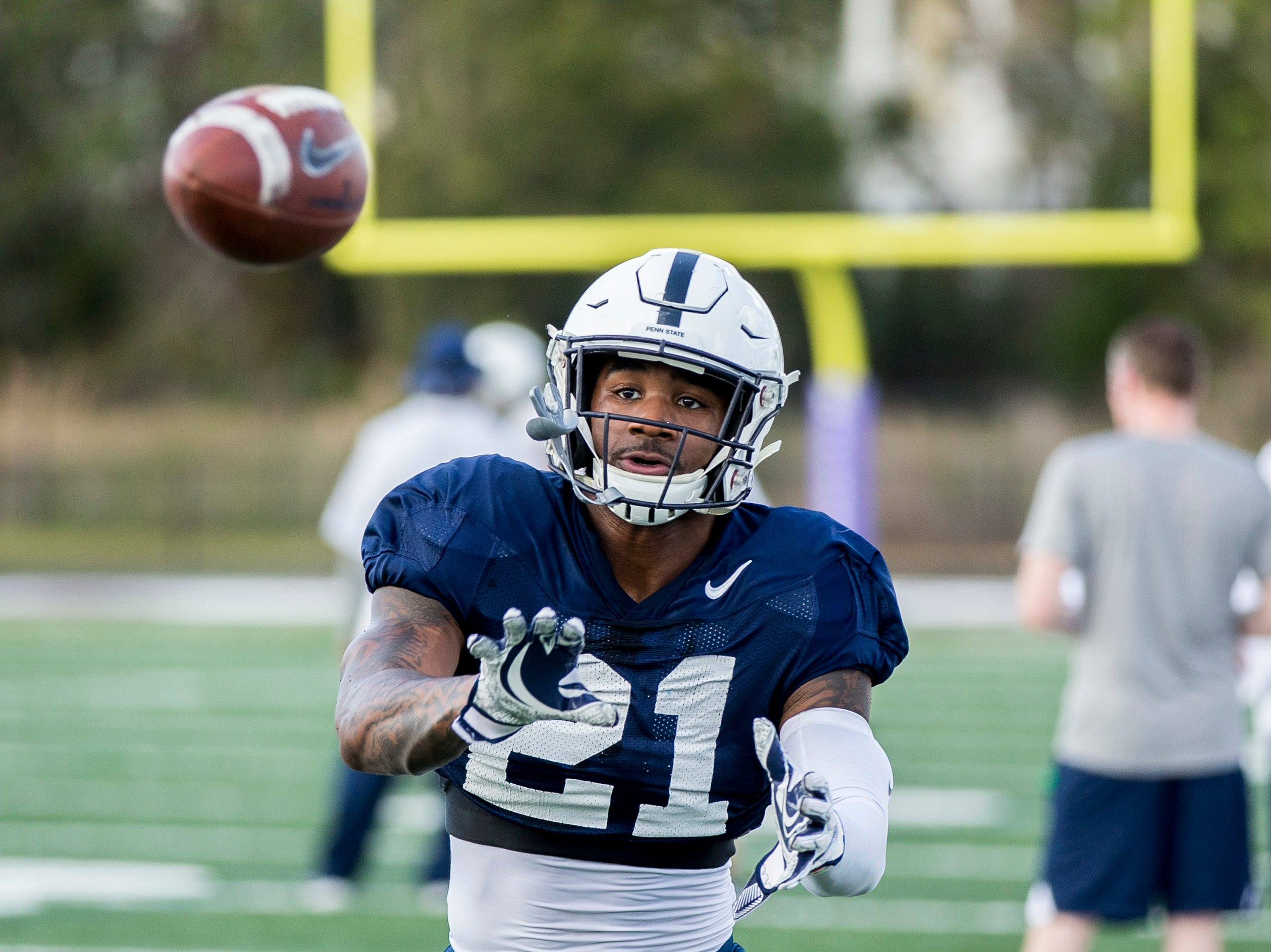 Penn State running back Miles Sanders catches a pass during practice for the Citrus Bowl, Sunday, Dec. 30, 2018 in Orlando, Fla. Penn State plays Kentucky in the Citrus Bowl on Tuesday, Jan. 1, 2019. (Joe Hermitt/The Patriot-News via AP)