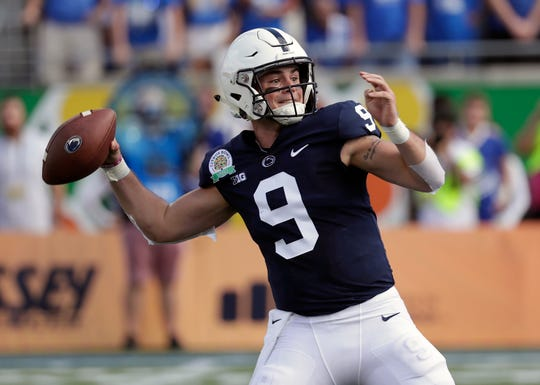 Penn State quarterback Trace McSorley throws a pass against Kentucky during the first half of the Citrus Bowl NCAA college football game, Tuesday, Jan. 1, 2019, in Orlando, Fla. (AP Photo/John Raoux)