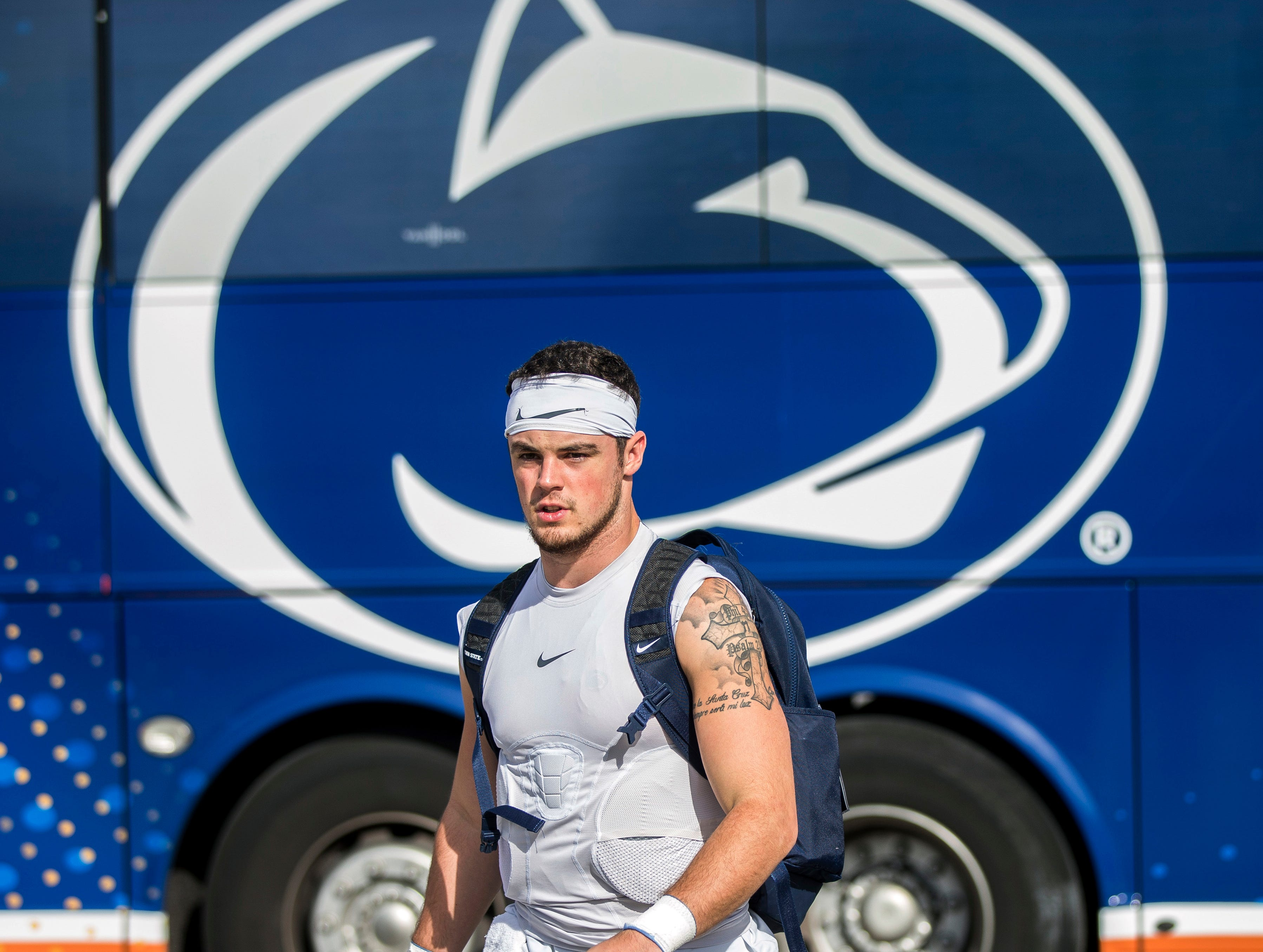 Penn State quarterback Trace McSorley arrive for practice for the Citrus Bowl, Sunday, Dec. 30, 2018 in Orlando, Fla. Penn State plays Kentucky in the Citrus Bowl on Tuesday, Jan. 1, 2019. (Joe Hermitt/The Patriot-News via AP)
