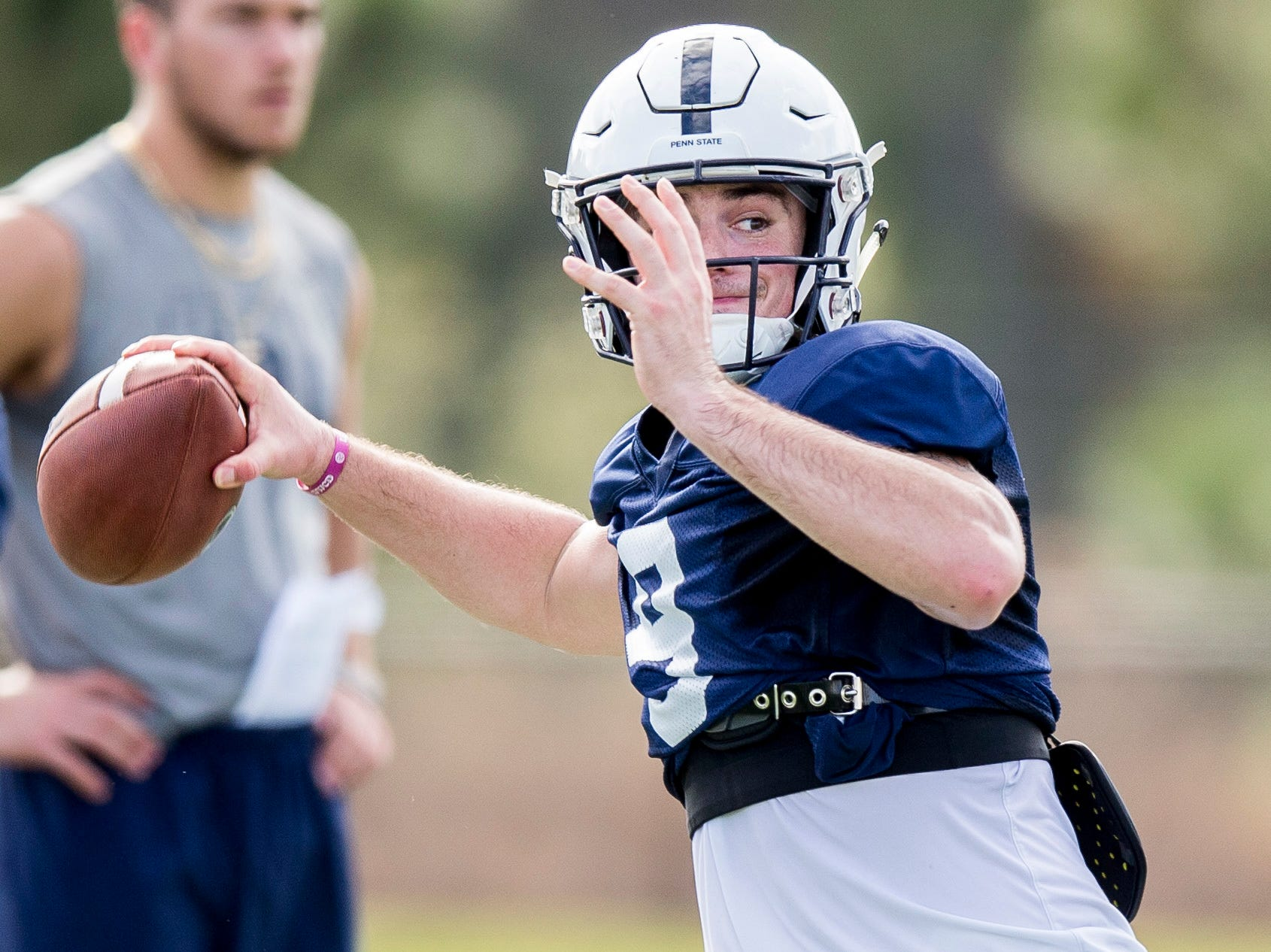 Penn State quarterback Trace McSorley throws during practice for the Citrus Bowl NCAA college football game on Saturday, Dec. 29, 2018, in Orlando, Fla. (Joe Hermitt/The Patriot-News via AP)