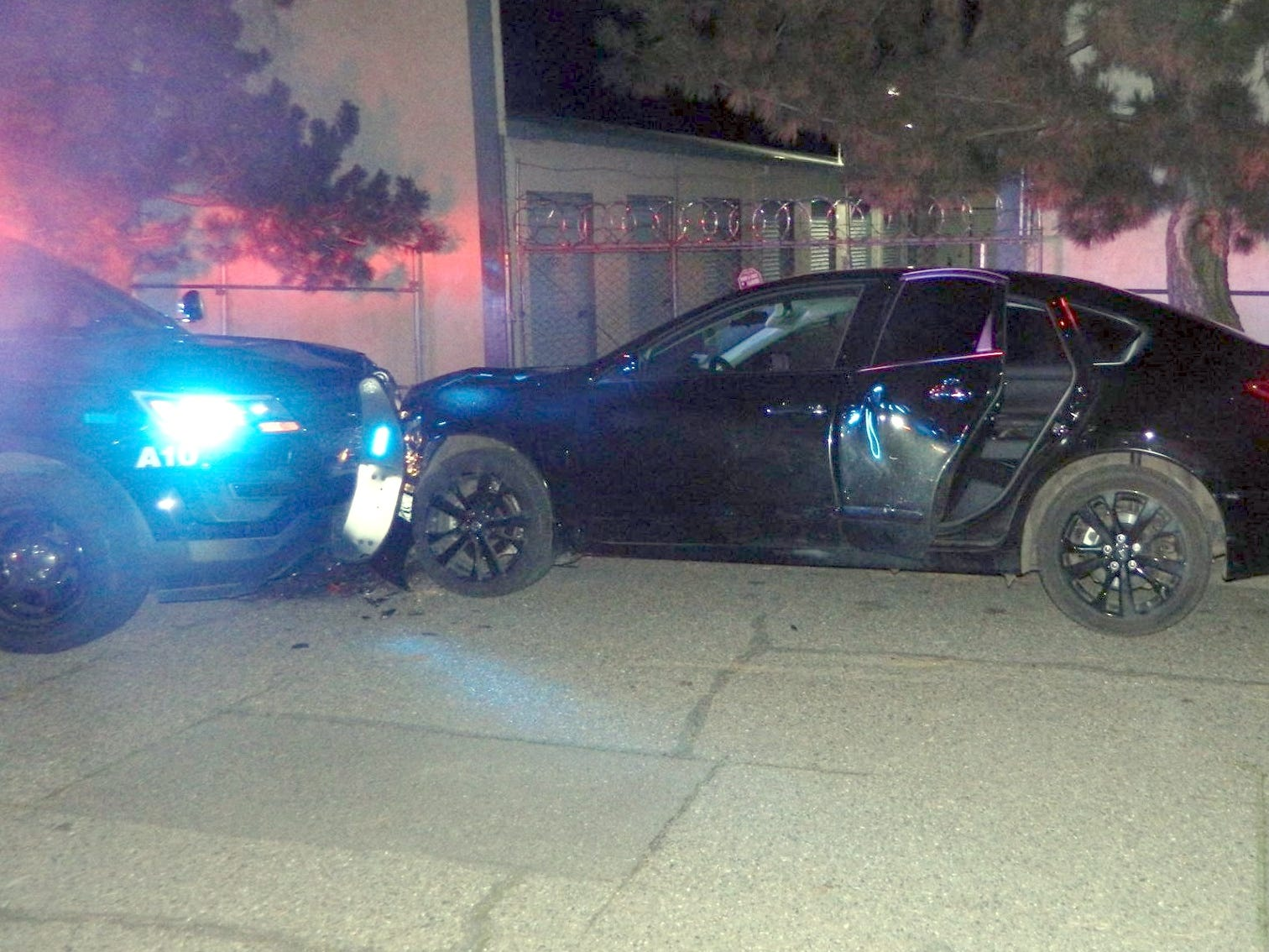 An auto theft suspect ran the car into an Anderson police unit during a chase Saturday.