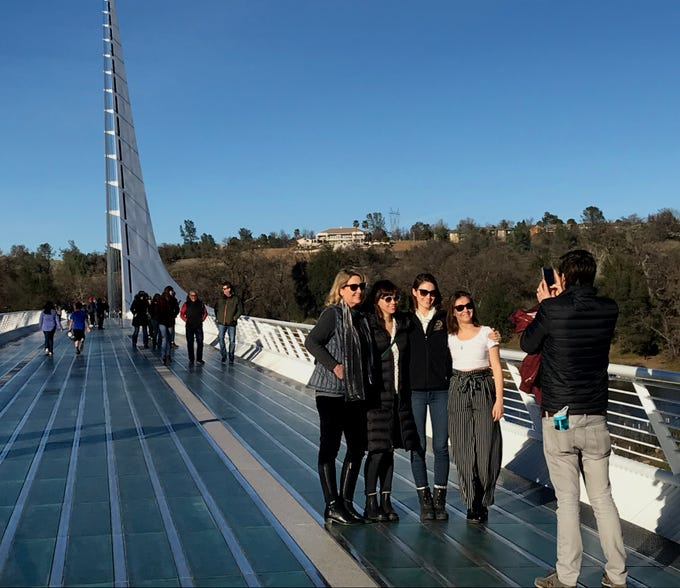 The Sundial Bridge was a busy place Monday as friends, families and others  visited the popular Redding landmark .