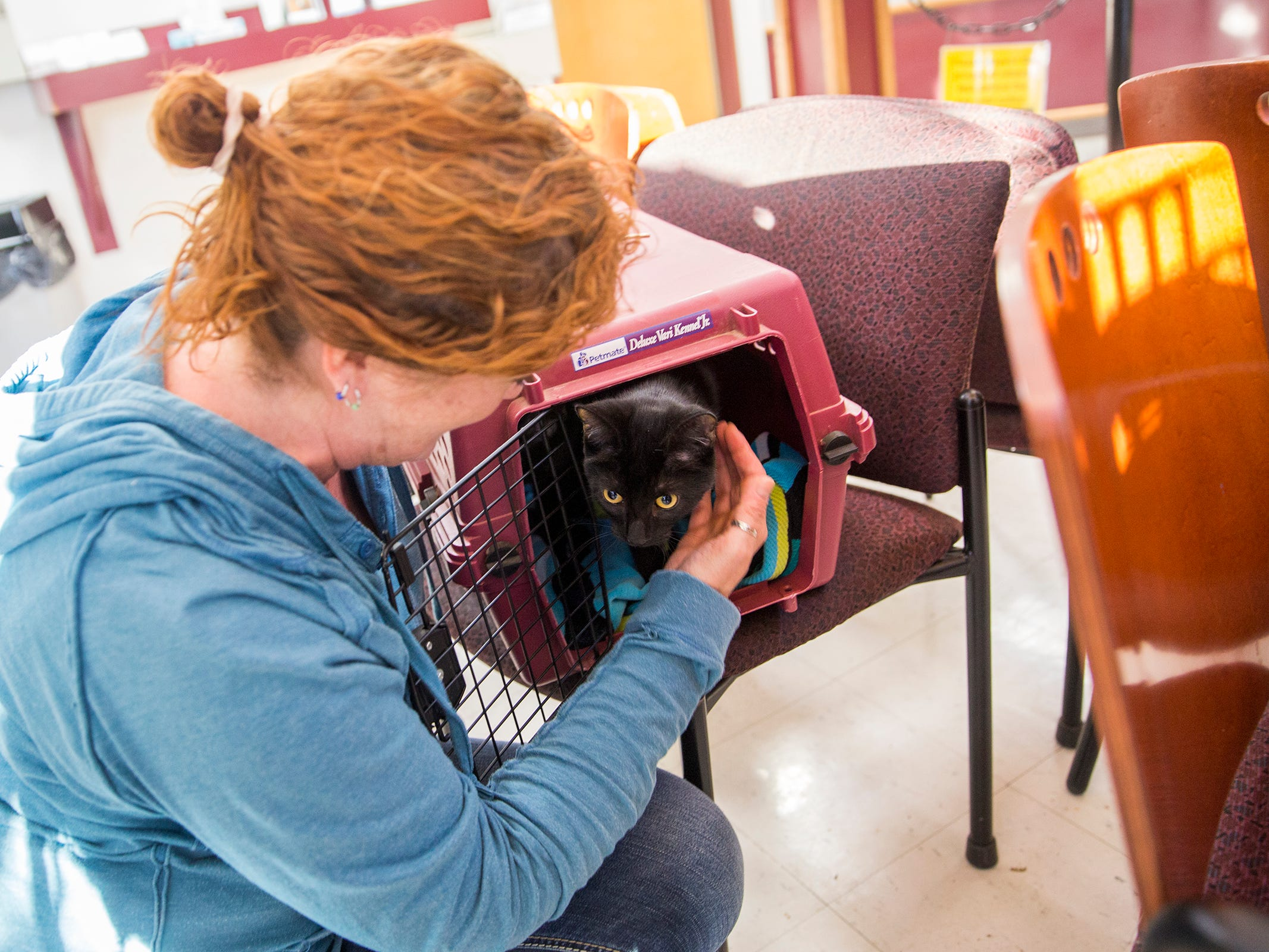 Pan Learned and one of two cats she adopted at the Willamette Humane Society in Salem on Monday, Dec. 31, 2018. She received a gift certificate for the adoption at Christmas.