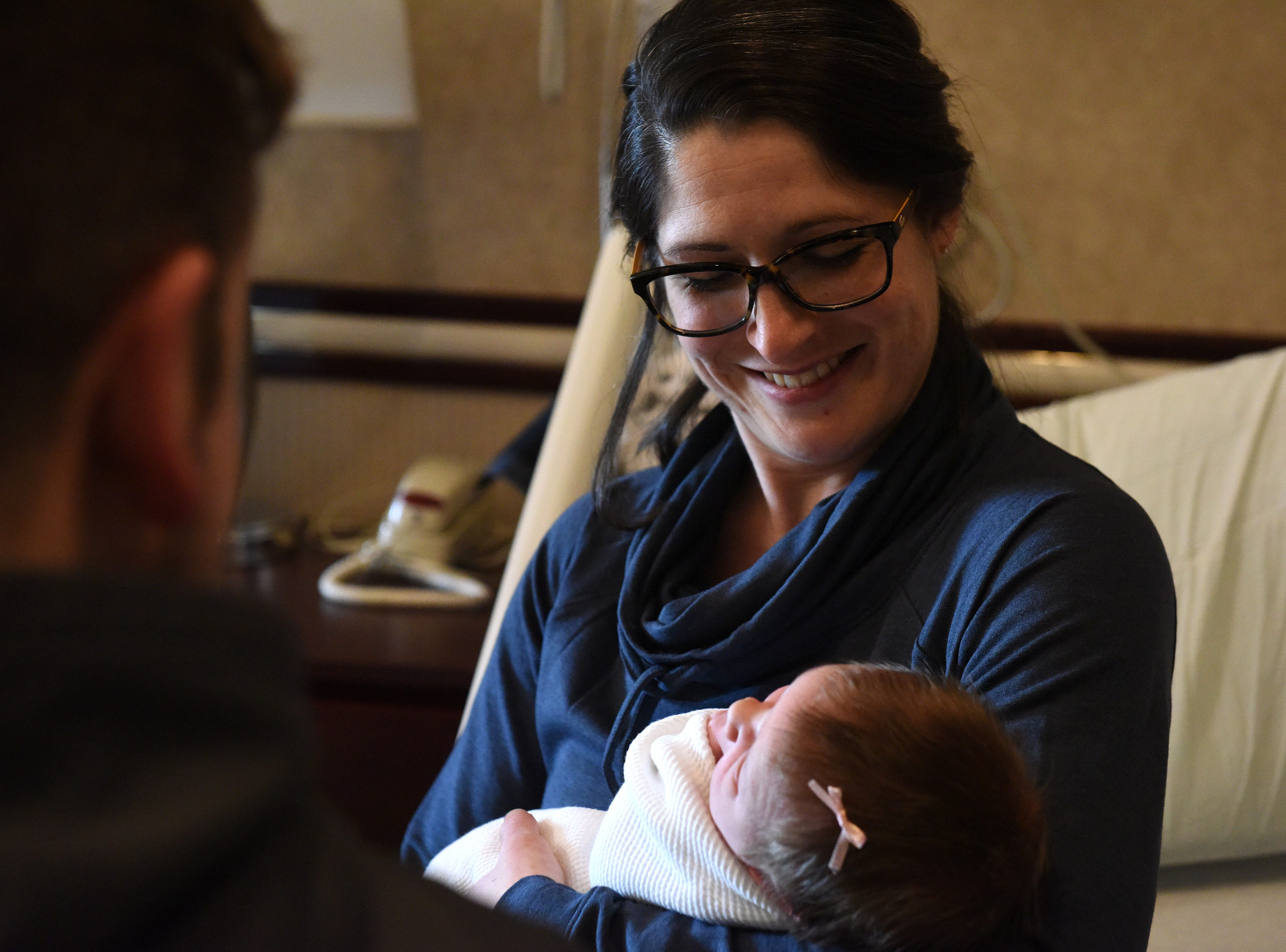 Ashley Bohlen holds her new daughter Lauren Louise Bohlen, Tuesday, Jan. 1, 2019 at Sanford Health in Sioux Falls, S.D. Lauren was the first baby born at Sanford in 2019.