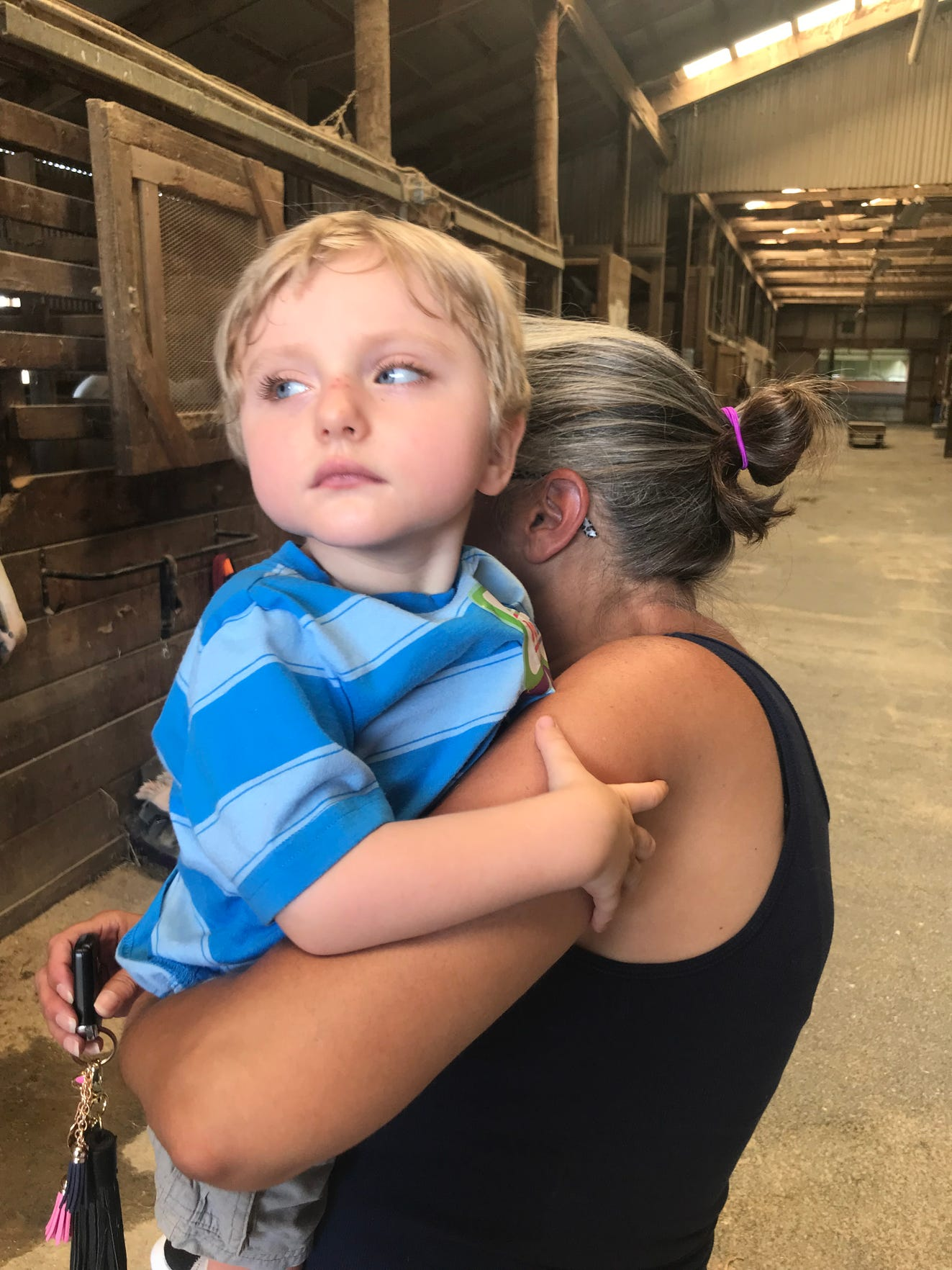 Teresa Hodge, in-home caregiver for Carson Tugman, 3, of Staunton, holds him while they visit horses at Cedar Creek Stables. Tugman's grandmother Kelly Howe says Hodge is very shy and doesn't like to have her picture taken.