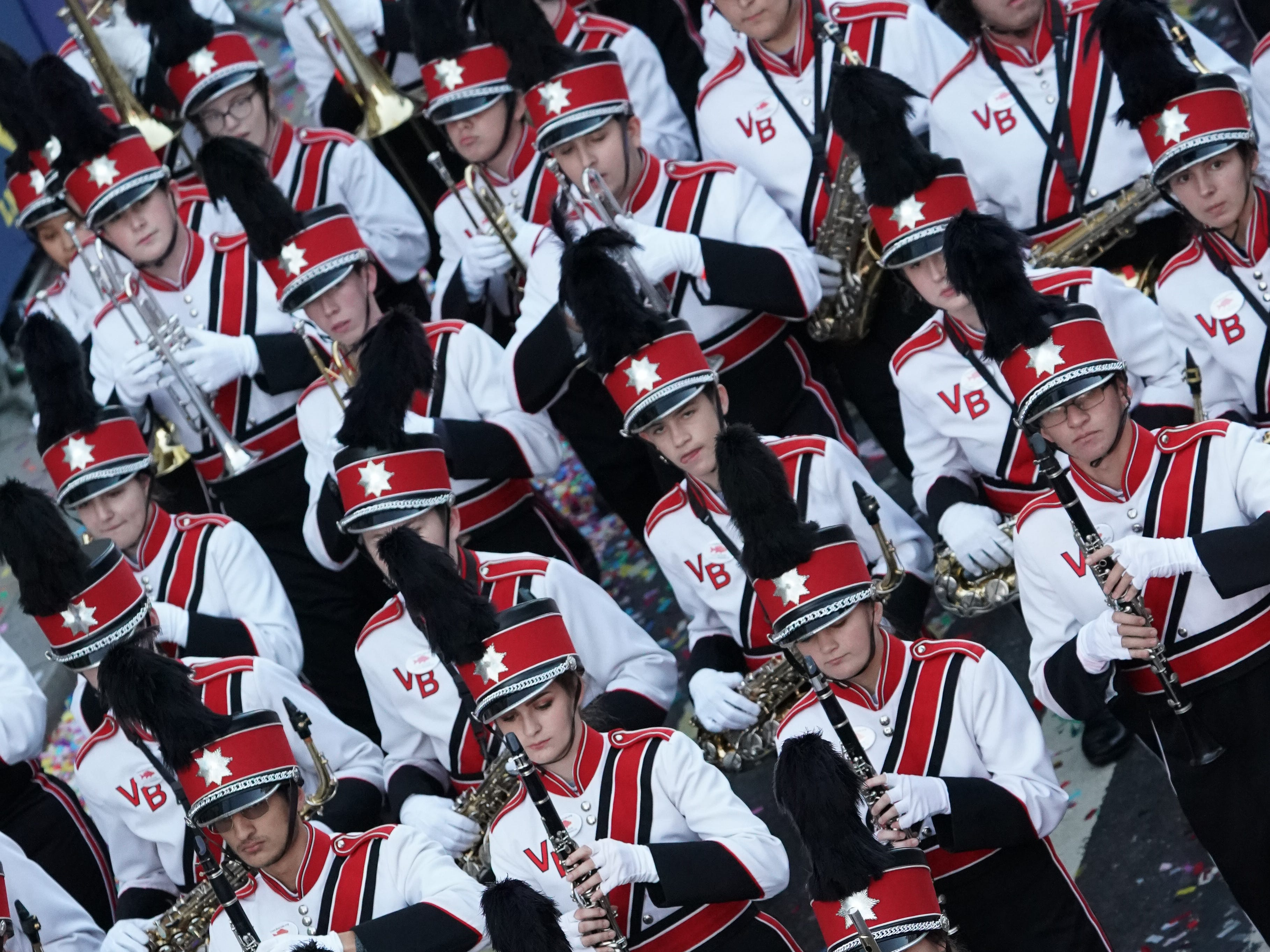 The Vero Beach High School marching band performs in England at the London New Year's Day Parade on Jan. 1, 2019, in the streets on the city's West End.