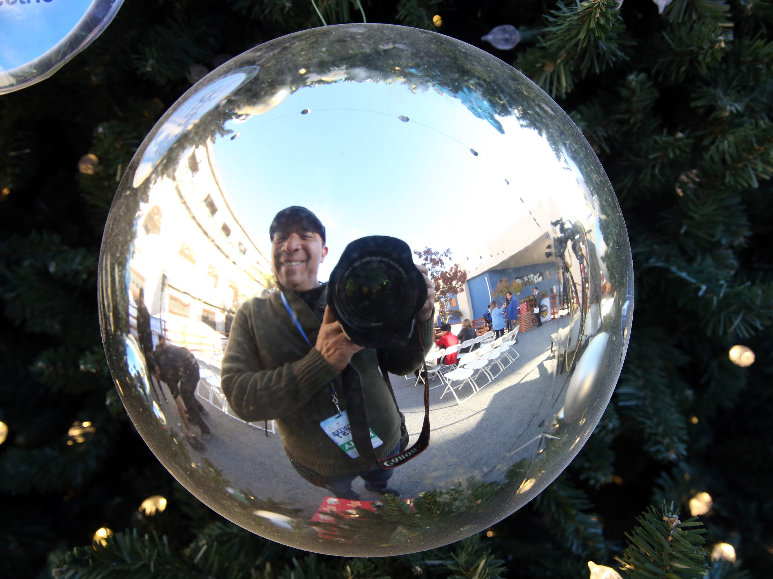 Rudy Gutierrez' reflection on an ornament in downtown El Paso December, 2018.