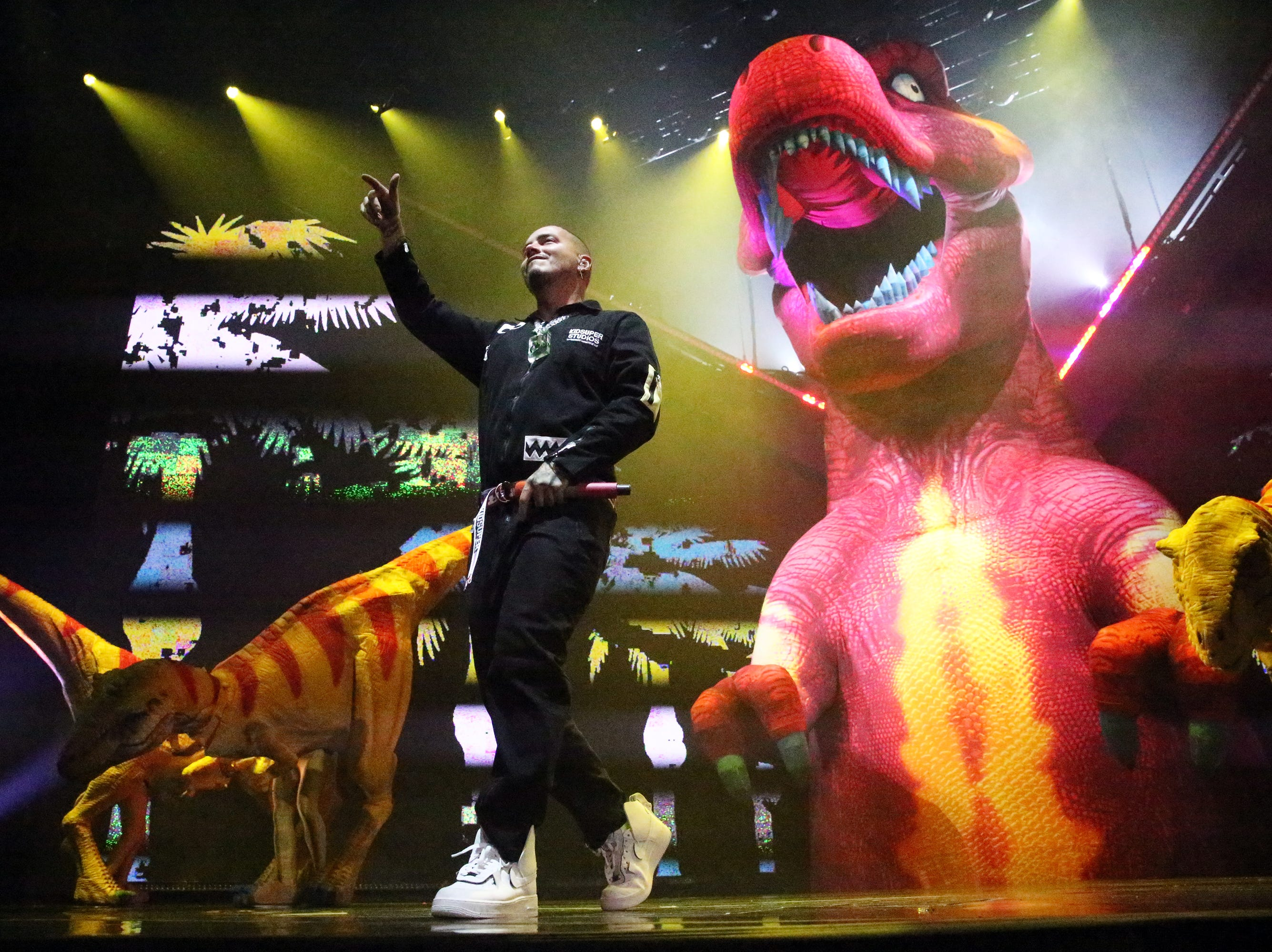 Reggaeton singer J Balvin is surrouned by dinosaurs on stage during his Sunday night,  Sept. 30 show at the Don Haskins Center. Balvin, whose real name is Jose Alvaro Osorio Balvin was on his Vibras tour 2018.