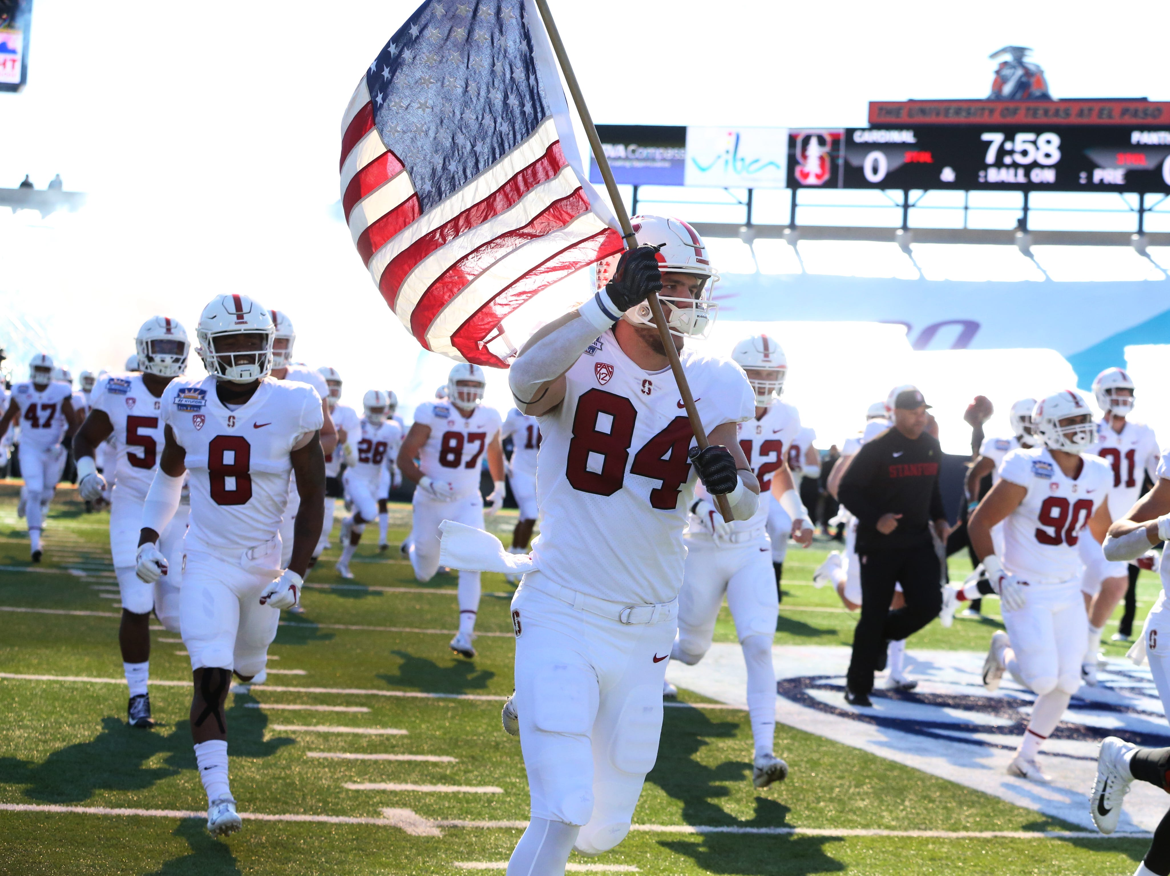 The Stanford Cardinal take the field against the Pitt Panthers Monday in the 85th Hyundai Sun Bowl game.