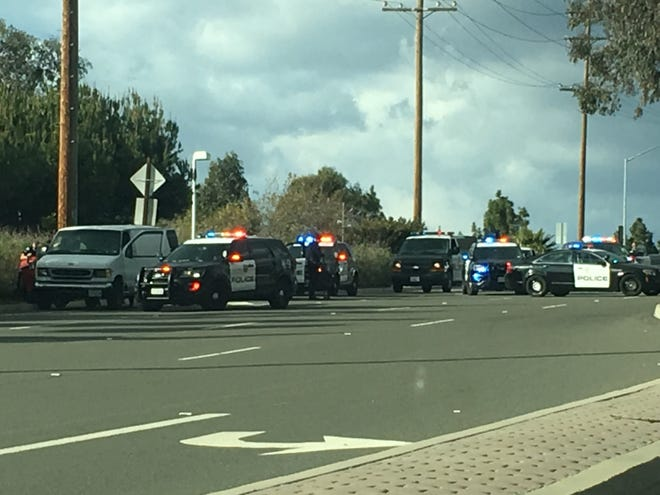 Ventura police conducted a high-risk traffic stop on Kimball Road Monday afternoon when suspected burglars fled  from a neighborhood.