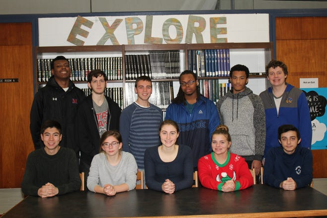 Millville High School's Students of the Month for November are: (standing, from left) Randy Butler, Jonathan Miller, Dominic Genna, Tyshaun Martin, Kyle Wright and Bryce Riggins; and (seated, from left) Joshua Sooy, Tori Camp, Jerica Hudson, Kyleigh Harbison and Sean Dilks. Kyieem Walker is not pictured.