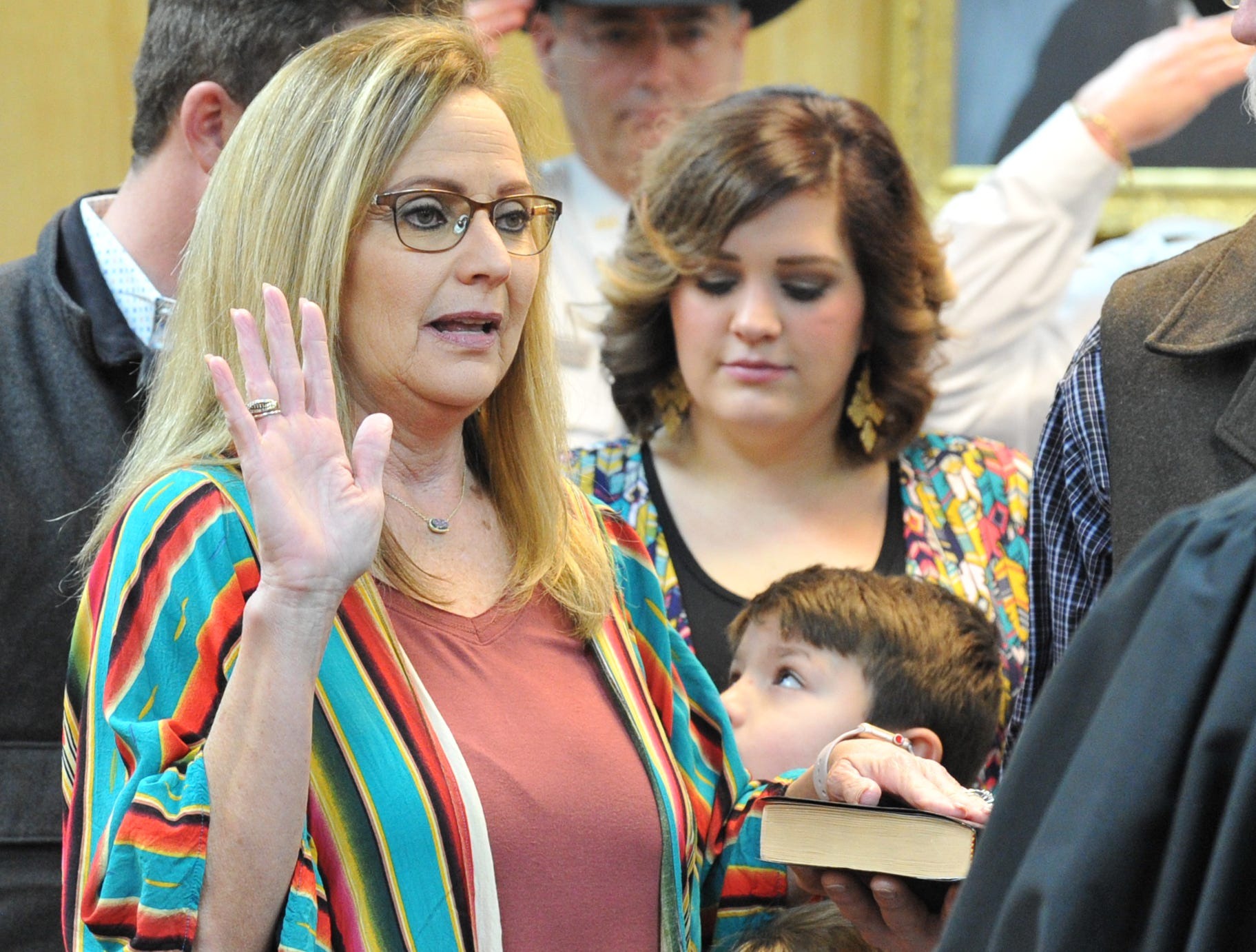 County Clerk Lori Bohannon was sworn in during a ceremony held in the 30th district courtroom, Tuesday morning.