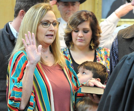County Clerk Lori Bohannon was sworn in during a ceremony held in the 30th district courtroom as shown in this Jan. 1, 2019, file photo.