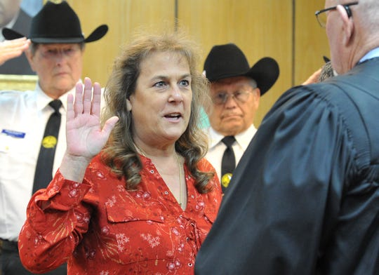 Wichita County District Clerk Patti Flores was sworn in during a ceremony held in the 30th District courtroom as shown in this Jan. 1, 2019, file photo.