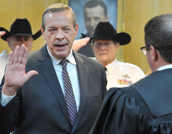 Wichita County Precinct 4 Commissioner Jeff Watts was sworn in last year during a ceremony held in the 30th district courtroom as shown in this Jan. 1, 2019, file photo.