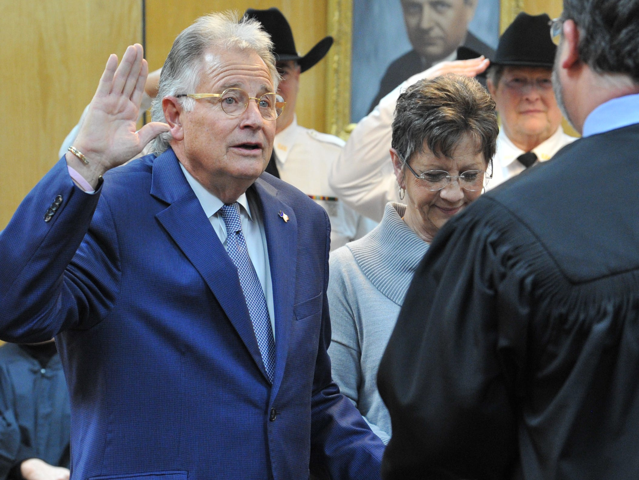 County Treasurer R.J Bob Hampton was sworn in during a ceremony held in the 30th district courtroom, Tuesday morning.