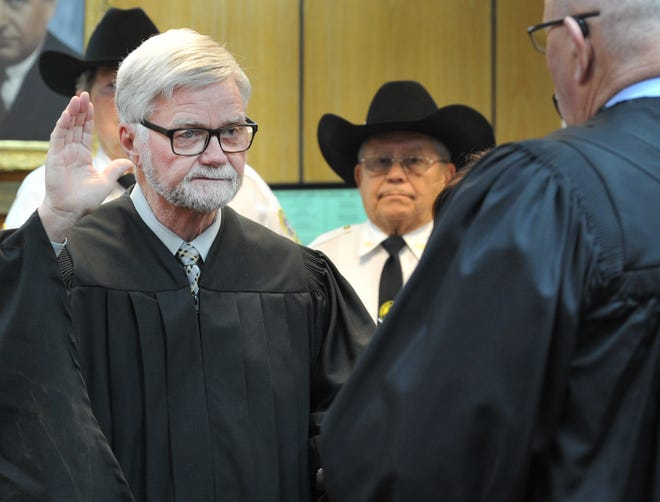 Wichita County Judge Woody Gossom was sworn in this year during a ceremony held Jan. 1 in the 30th district courtroom.
