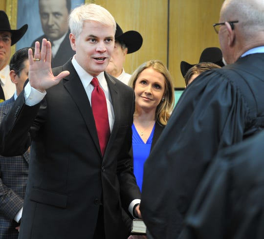 In this file photo, John Gillespie was sworn in as the Wichita County District Attorney Jan. 1, 2019, in the 30th District courtroom.