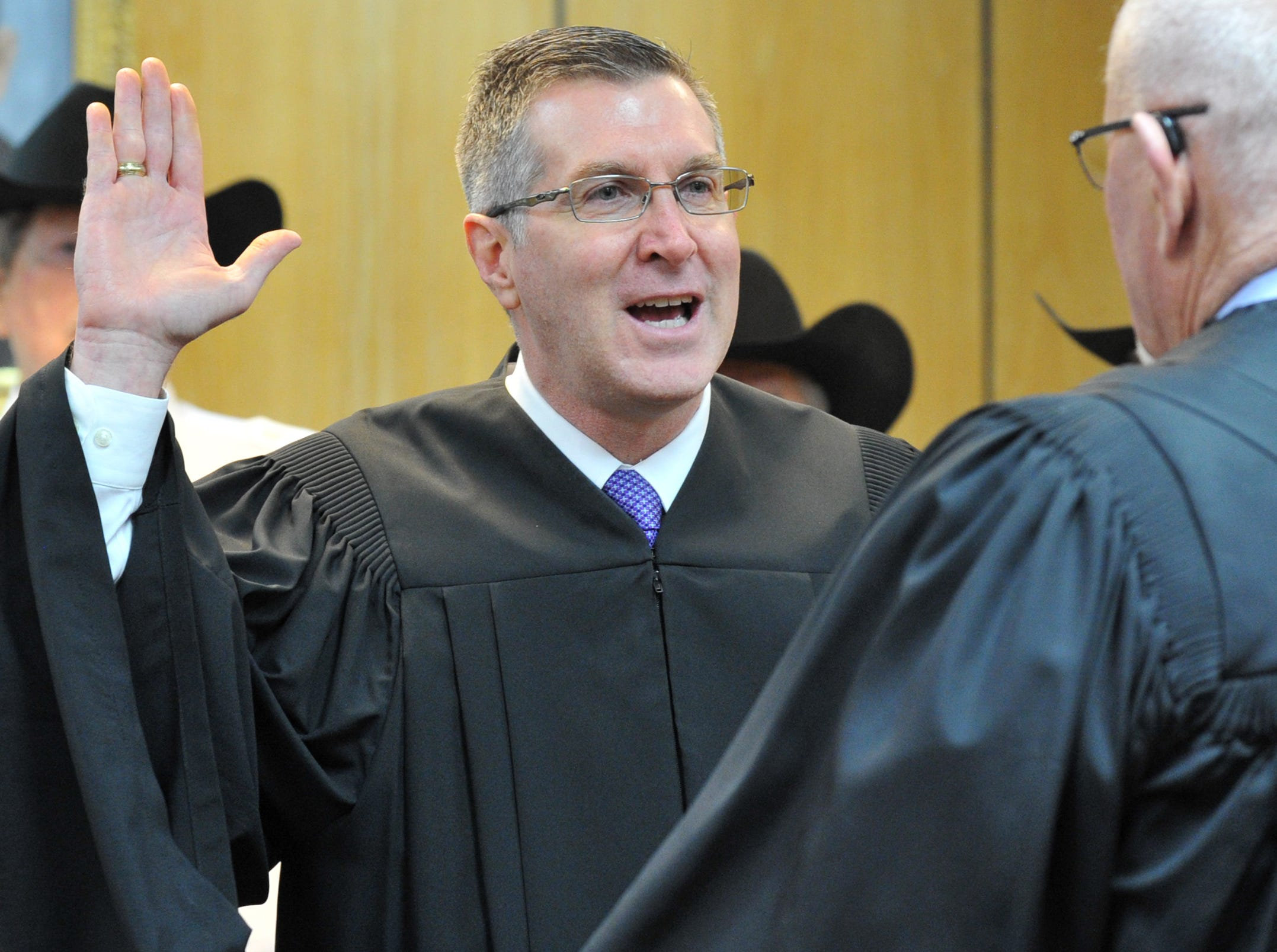 County Court at Law #2 Judge Greg King was sworn in during a ceremony held in the 30th district courtroom, Tuesday morning.