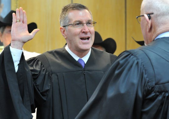 Judge Greg King of Wichita County Court at Law No. 2, shown in this Tuesday, Jan. 1, 2019, file photo, was sworn in during a ceremony held in the 30th District courtroom.