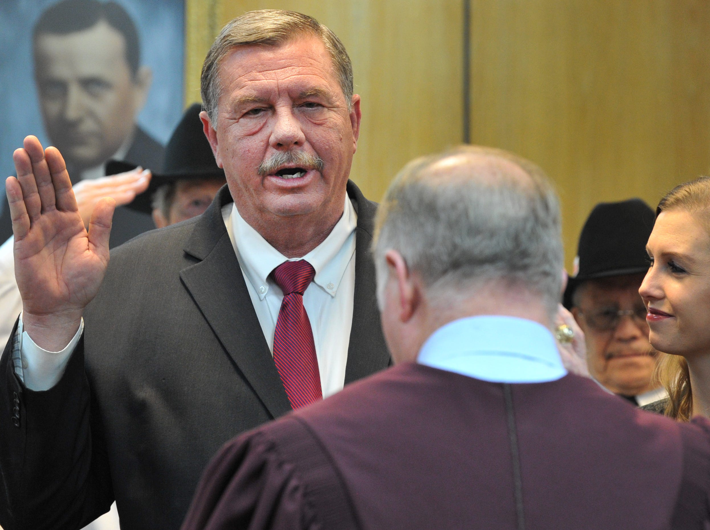 Wichita County Precinct 2 Commissioner, Lee Harvey was sworn in during a ceremony held in the 30th district courtroom, Tuesday morning.