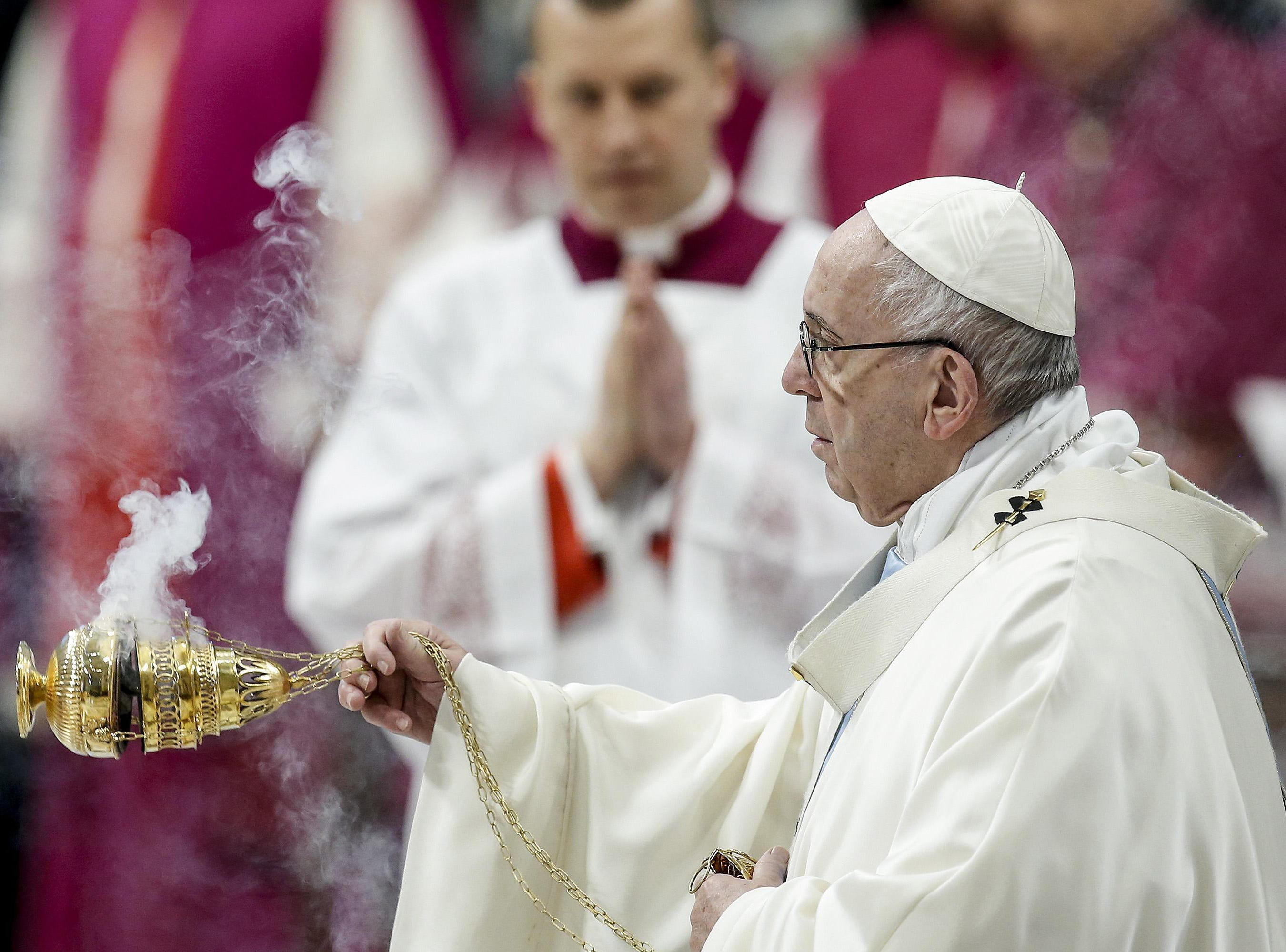 Pope Francis celebrates the Mass of the Solemnity of Mary Most Holy, on the 52st World Day of Peace in St. Peter's Basilica at the Vatican on Jan. 1, 2019.