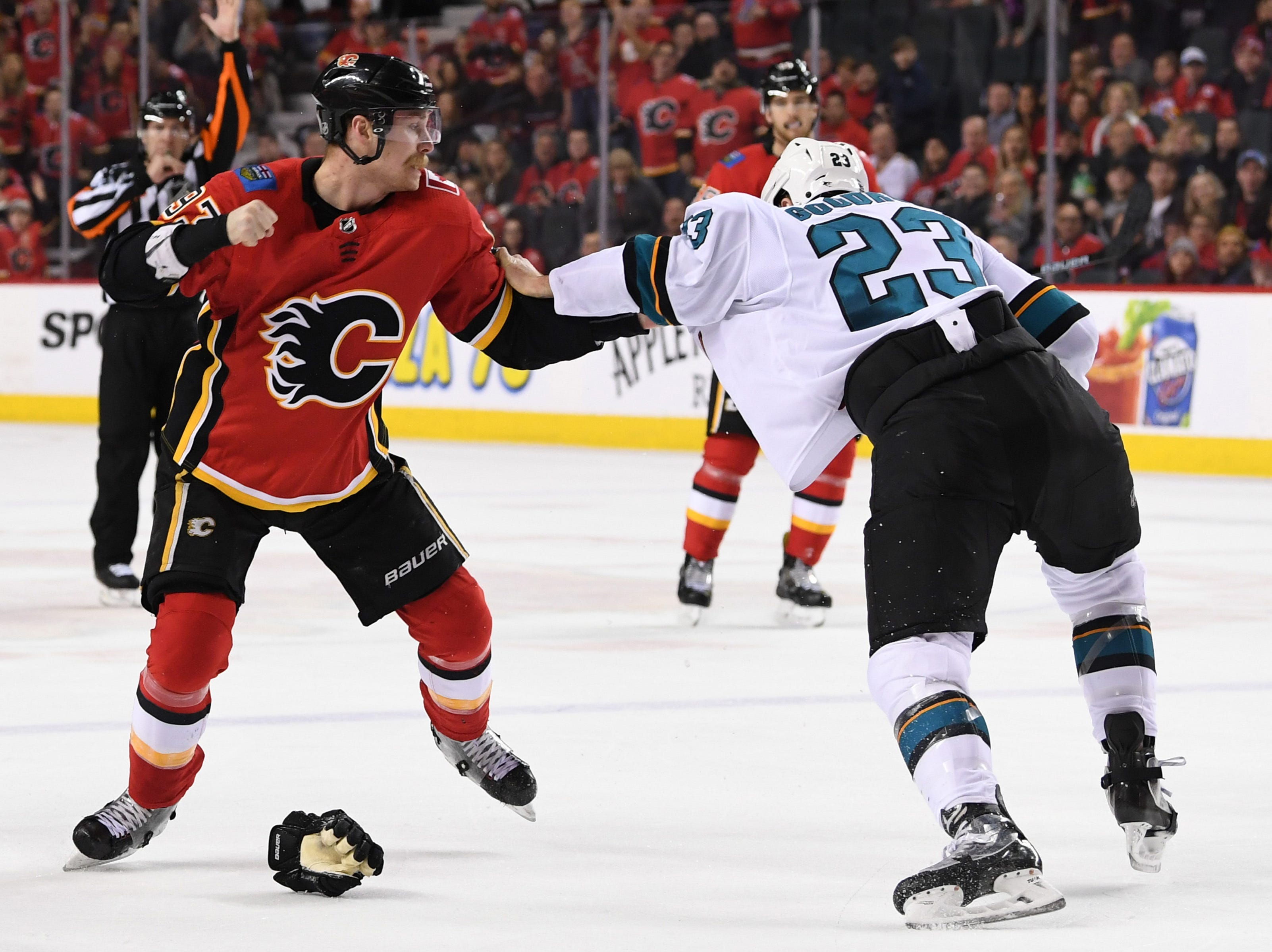 Dec. 31: Calgary Flames' Sam Bennett vs. San Jose Sharks' Barclay Goodrow.