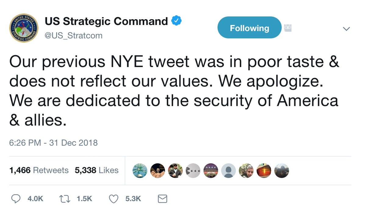 US military deletes, apologizes for dropping bombs New Year's tweet