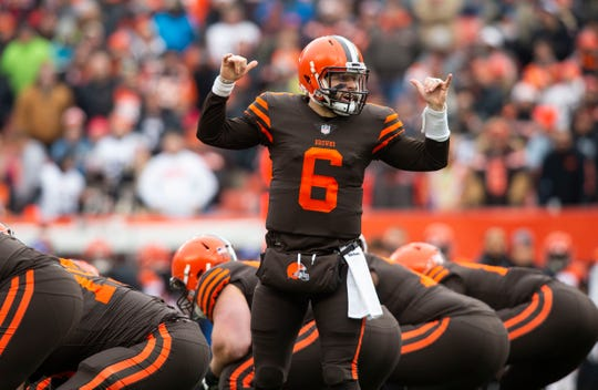 Cleveland Browns quarterback Baker Mayfield (6) has fittingly stepped into a leadership role in his rookie season.