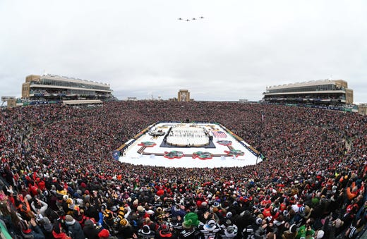 390d854cb The Chicago Blackhawks and the Boston Bruins played at Notre Dame Stadium  in the 2019 Winter