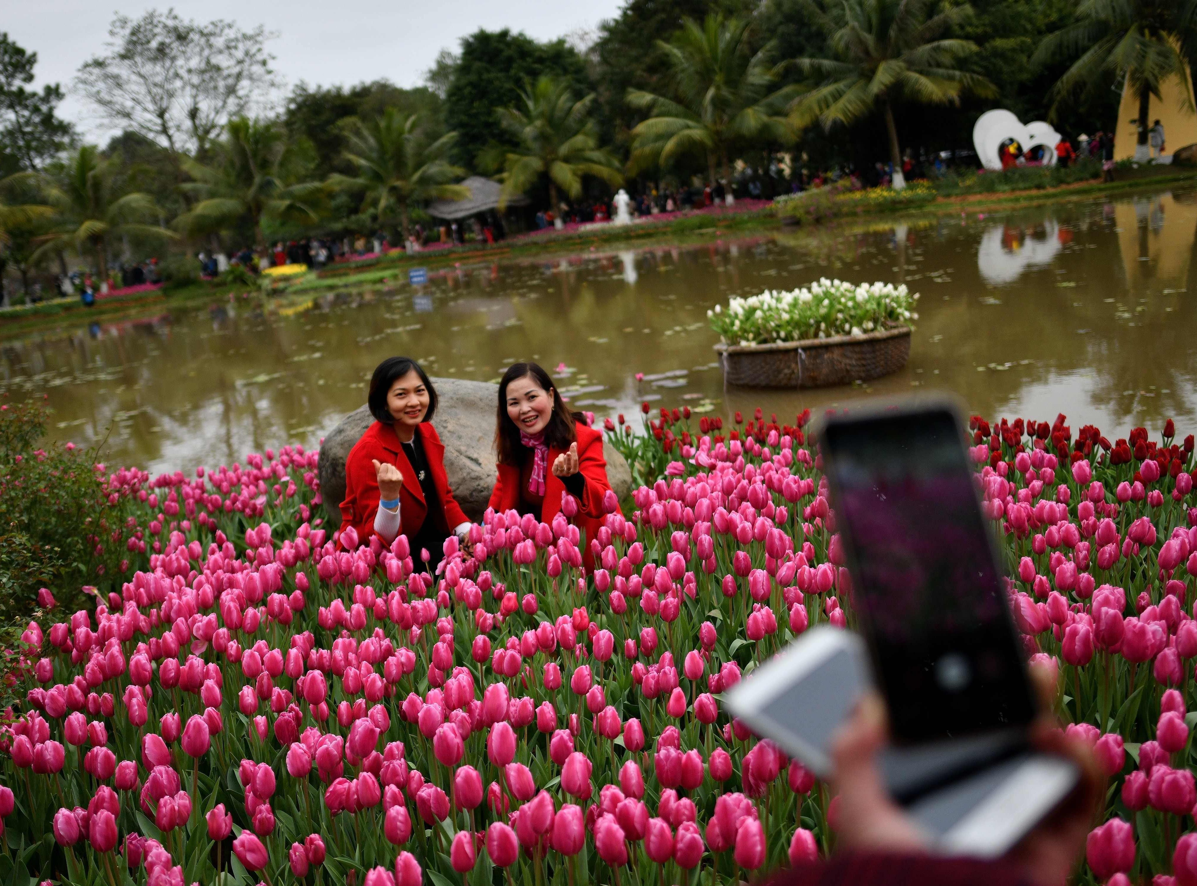 Women pose for photographs at a Tulip festival on New Years day in Hanoi on Jan. 1, 2019.