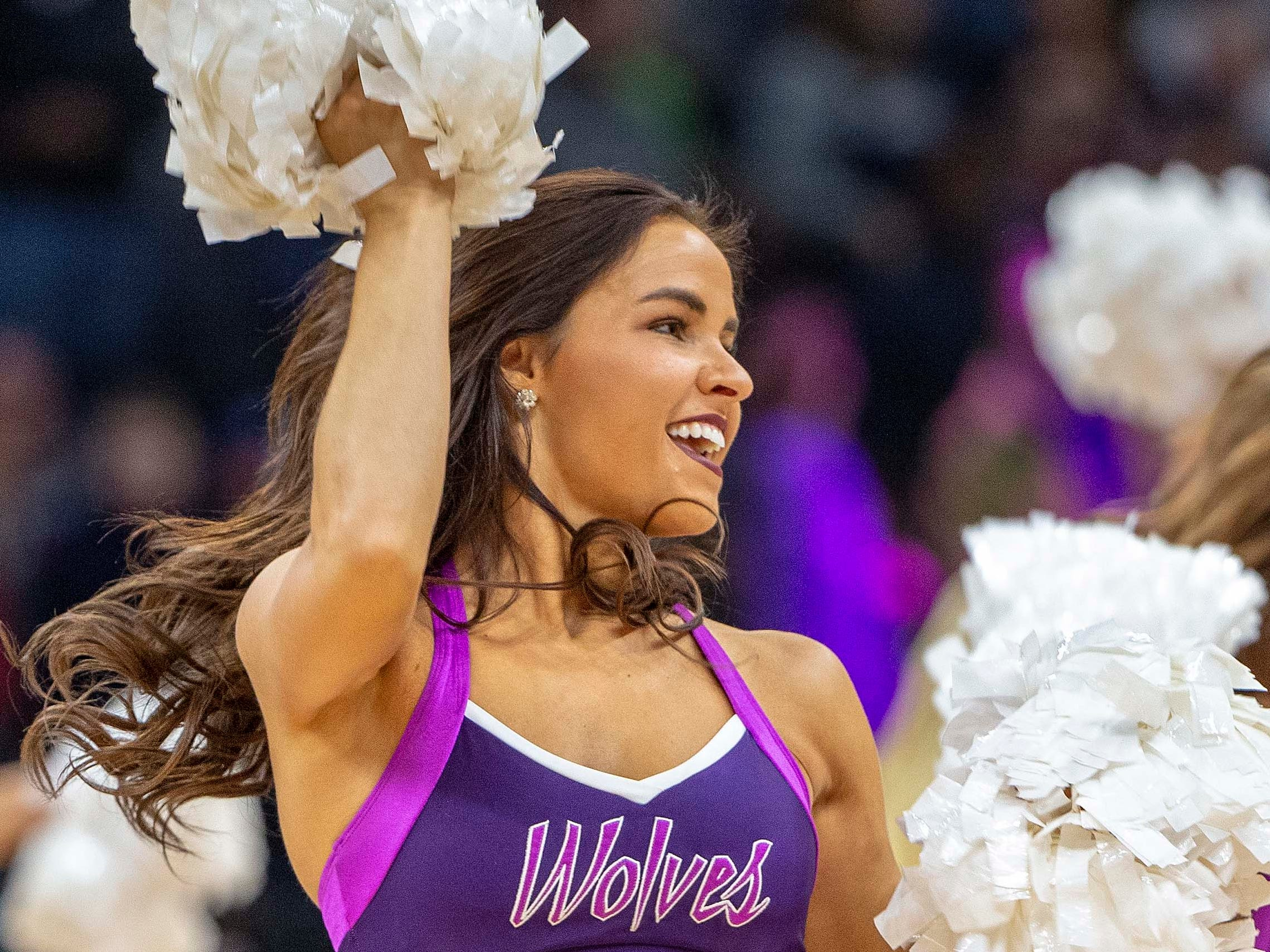 Dec. 28: A Minnesota Timberwolves dancer performs during the second half against the Atlanta Hawks at Target Center.