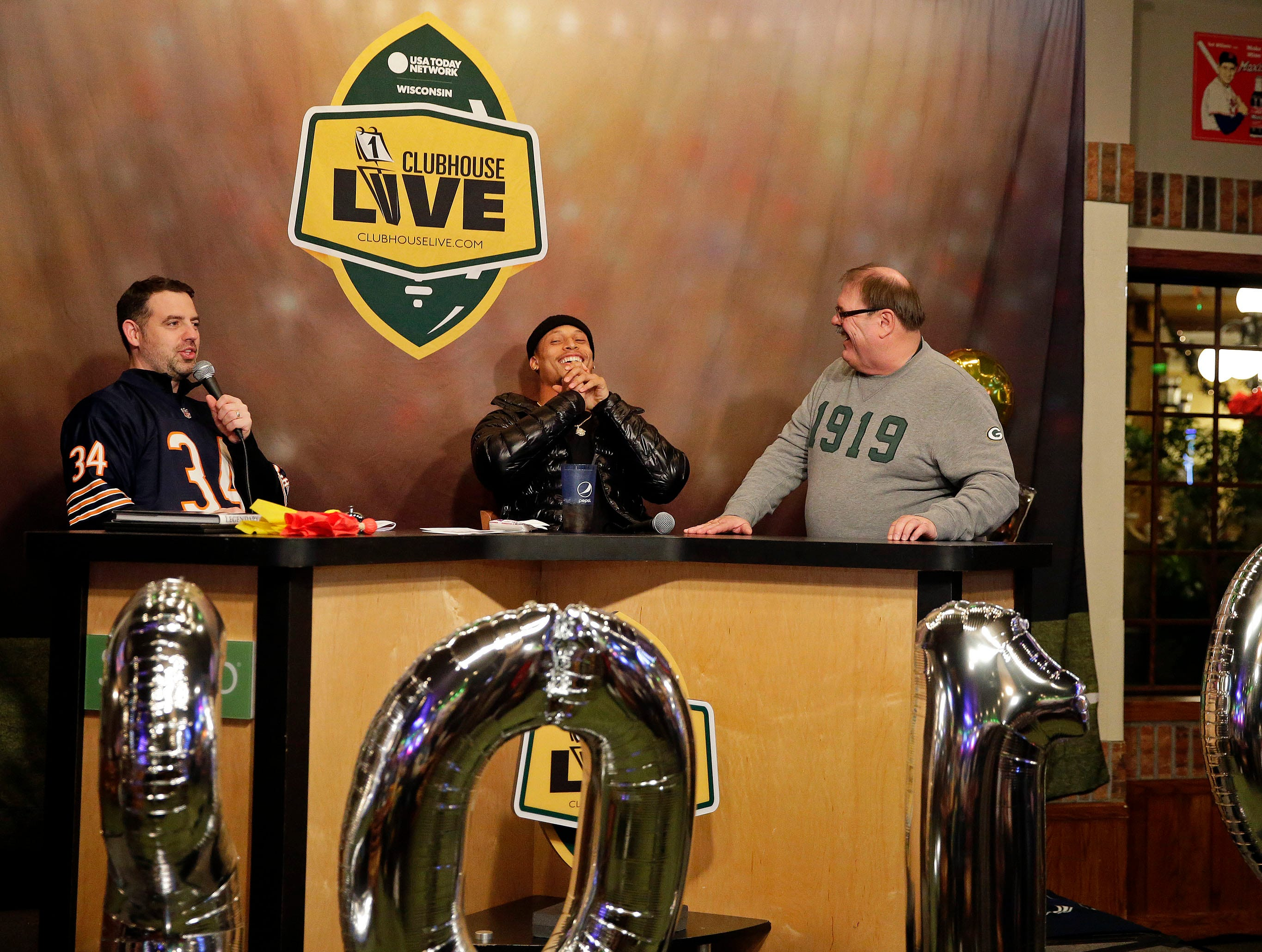 Clubhouse Live co-hosts Brett Christopherson, Ricardo Argeullo, Margaret Naczek and Green Bay Packer Josh Jones talk football Tuesday, January 1, 2019, at the Red Lion Paper Valley Hotel in Appleton, Wis.