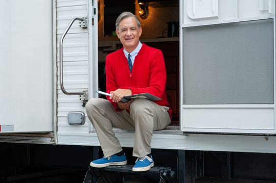 "Tom Hanks as Mr. Rogers in ""A Beautiful Day in the Neighborhood."""