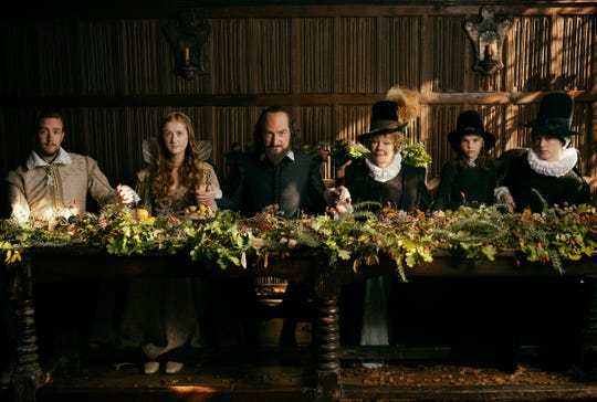 "Kenneth Branagh, center, stars as William Shakespeare in ""All is True."""