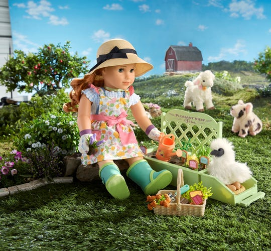 "Accessories for American Girl's 2019 ""Girl Of The Year"" doll include a lamb, piglet, chicken and garden."