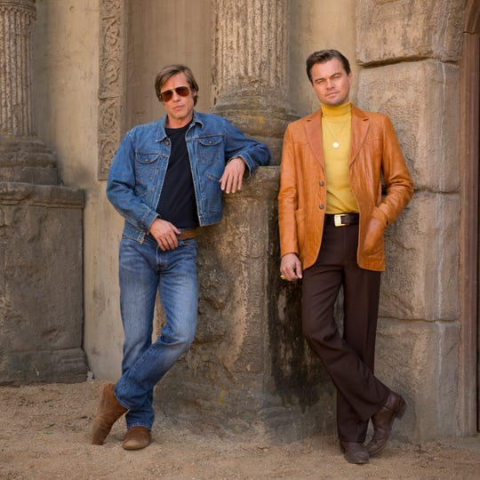 "Brad Pitt and Leonardo DiCaprio star in Columbia Pictures' ""Once Upon a Time in Hollywood."""