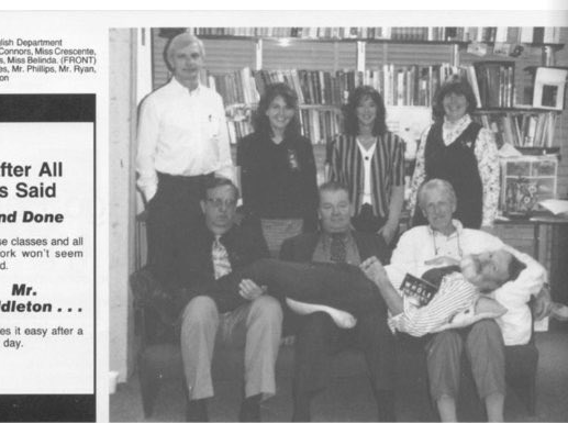 The Chenango Forks High School English Department, as pictured in the school's 1997-1998 yearbook.