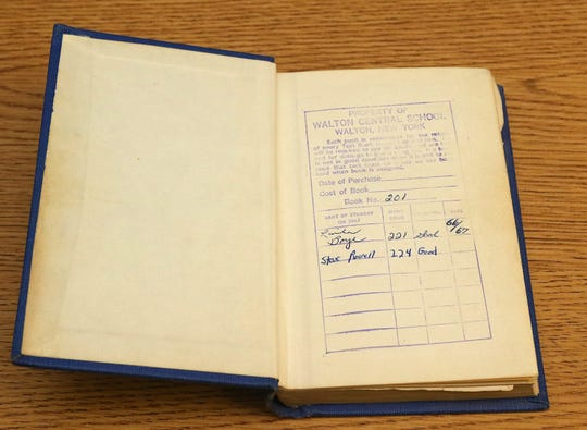 After 50 years, Walton grad Steve Rowell returned a school book he found in his parents' home.