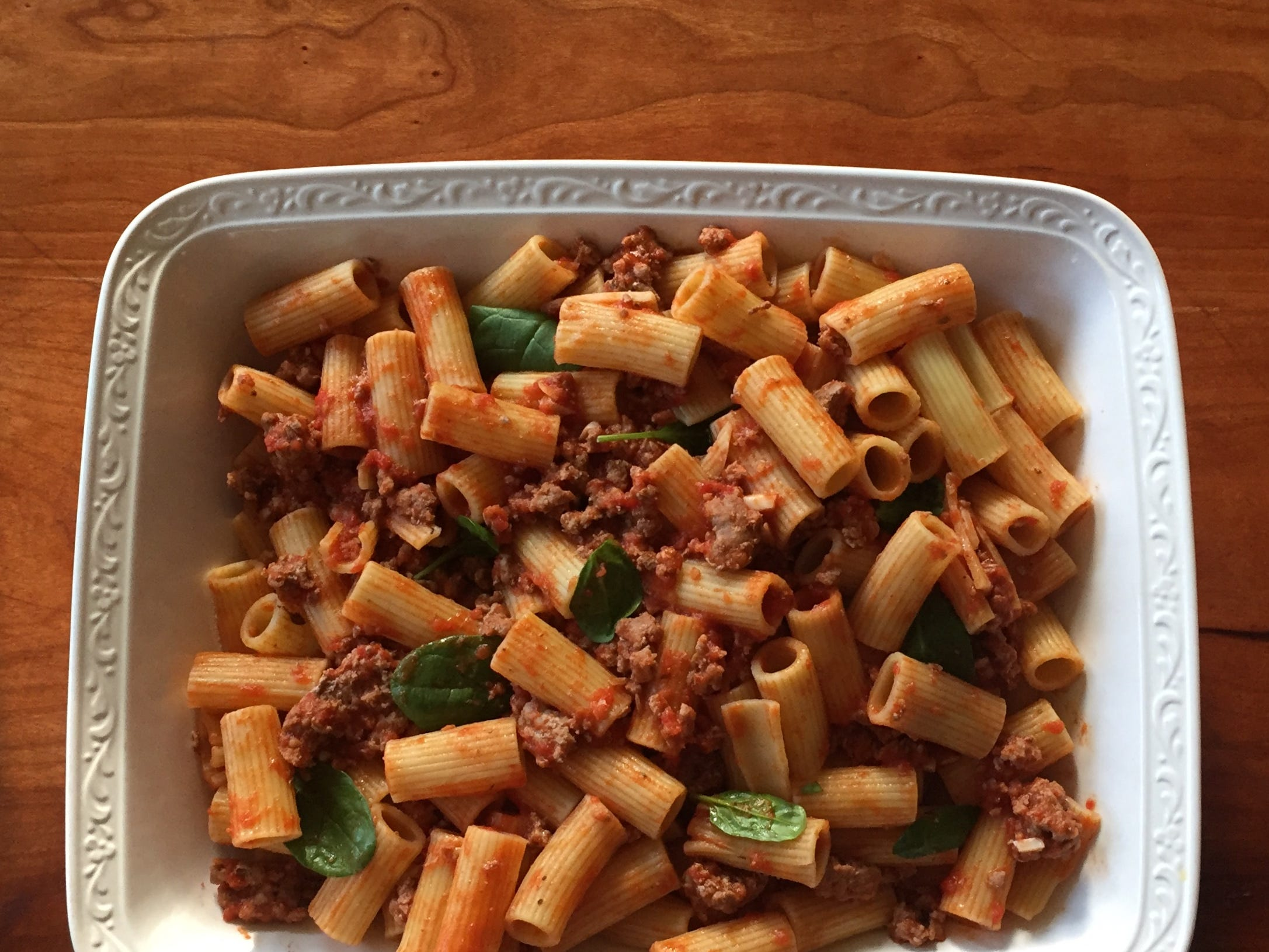 Baked pasta with sausage and spinach can be made in a 9x13 pan or split up into pan size that best fits the group you are feeding.