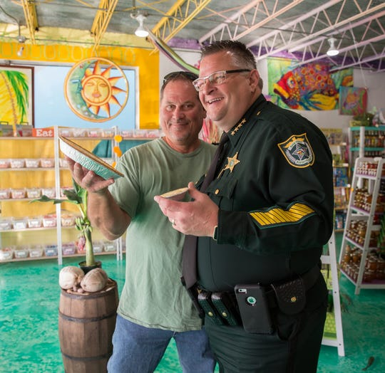 Florida Key Lime Pie Festival founder Lou Morehead and Brevard County Sheriff Wayne Ivey participated in the Key Lime Pie Chow Down Showdown at last year's festival.