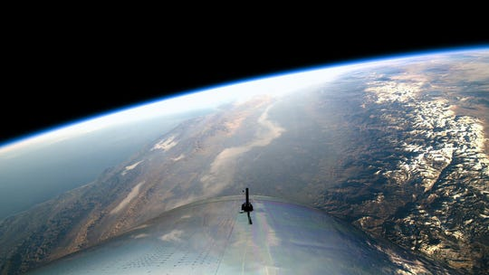 A view of Earth from Virgin Galactic's SpaceShipTwo during its first test flight to reach space on Dec. 13, 2018.
