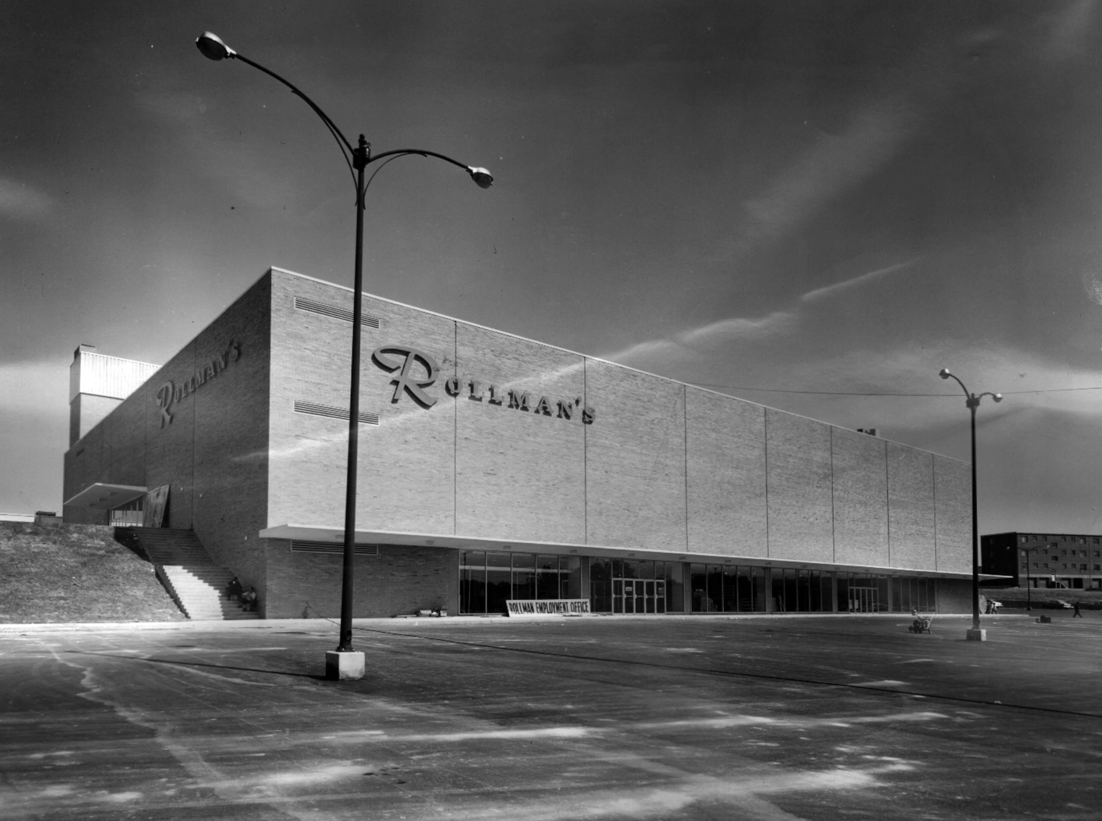 The huge Rollman & Sons Co. department store in Swifton Center has entrances on the lower level as well as on the mall level. The modern store offered 103 different departments on three floors.
