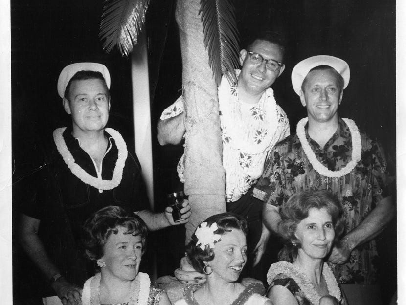 Members of the Brookwood Swim and Tennis Club dress for a luau party in 1956.