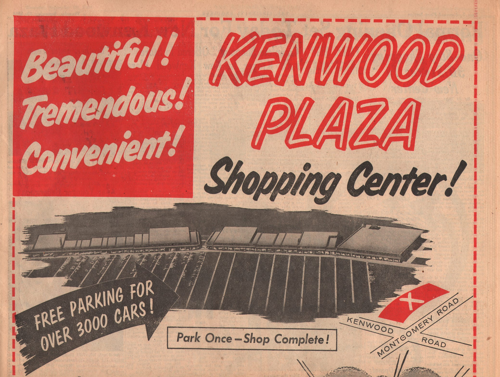 Enquirer ad for the grand opening of Kenwood Plaza, now known as Kenwood Towne Mall.