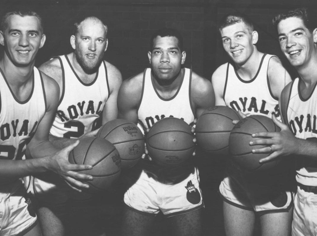 1956 photo of five Cincinnati area players who were drafted by the Cincinnati Royals.