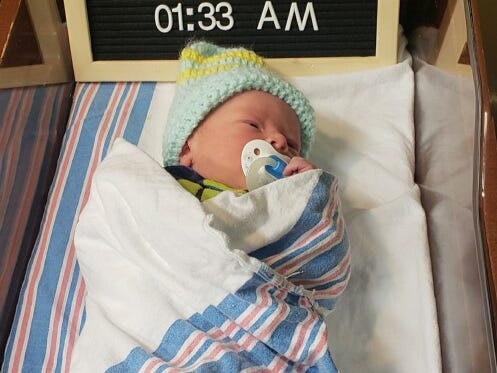 Cincinnati's first baby of the year was born at Mercy Health's Family Birthing Centers at Fairfield Hospital. Gunner Scott Davidson was welcomed into the world at 1:33 a.m. by Aaron Davidson and Lauren Hamilton of Hamilton, Ohio. He weighed 6 pounds, 4 ounces.