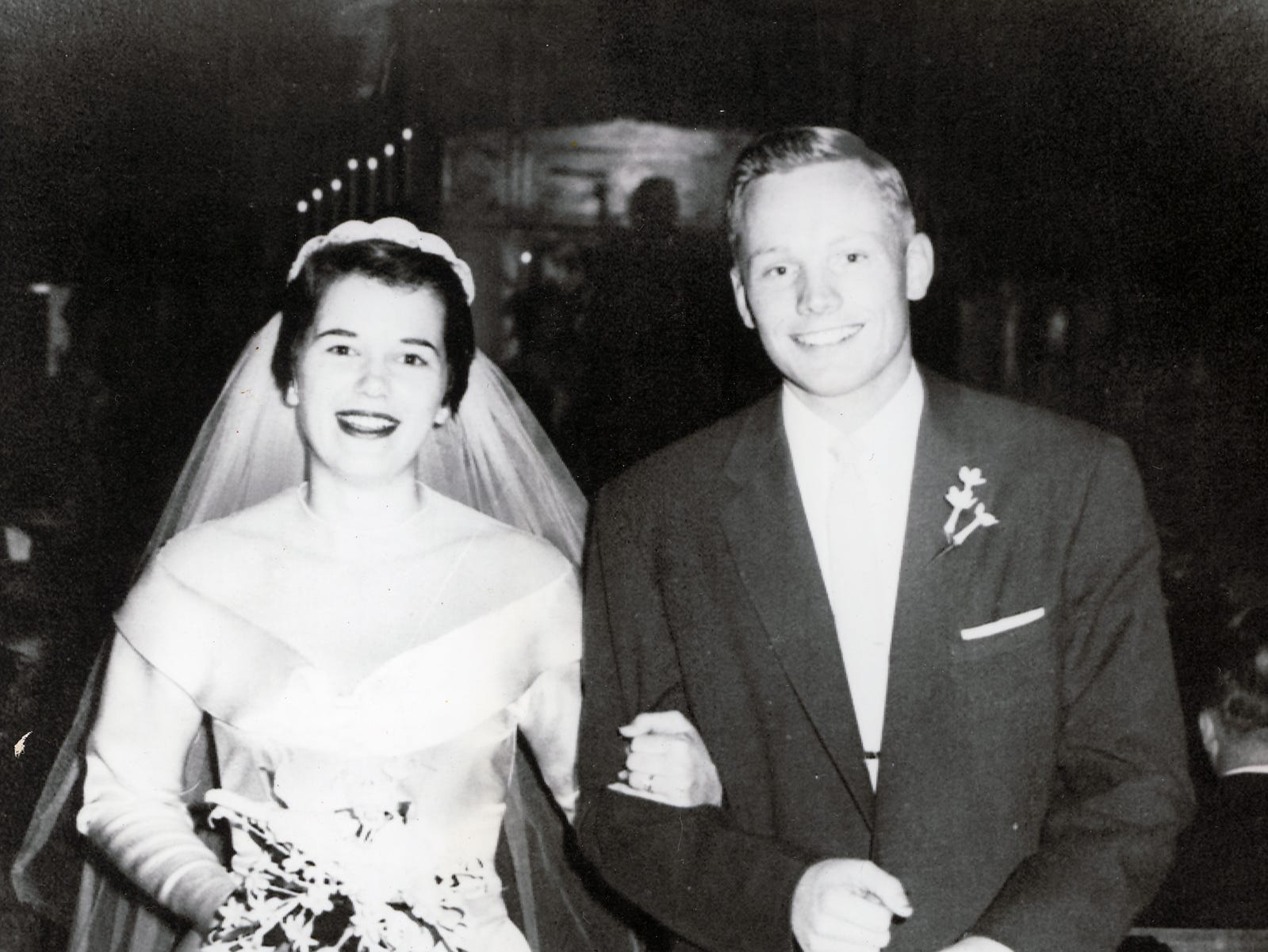 Neil Alden Armstrong, the Apollo 11 astronaut who is slated to be the first human to touch on the lunar surface later this month, is shown with his bride, the former Janet Shearon, at their marriage in 1956.