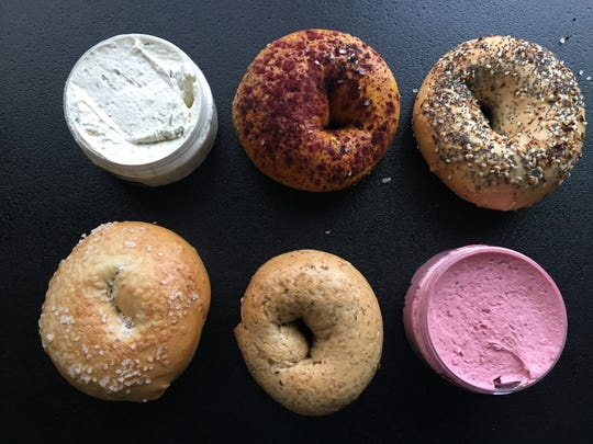 Bagels and flavored cream cheese from Lil's Bagels in Covington