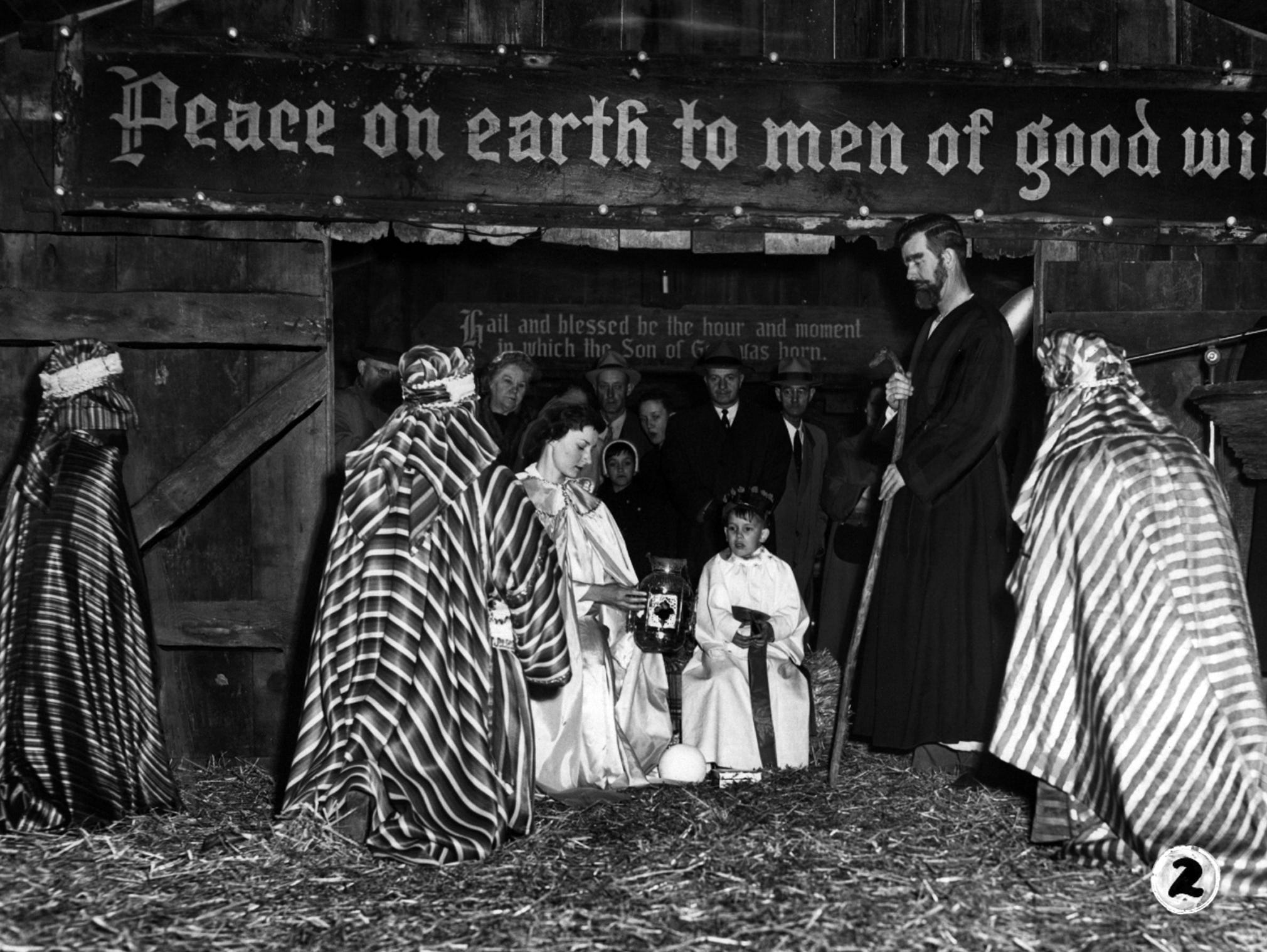 A pageant recalling the visit of the Three Wise Men to the Christ Child was shown at Lytle Park. Playing the parts of Jesus, Mary and Joseph were, respectively, five-year-old Francis Niehaus, Miss Carol Thomas and Henry Niehaus. The three Wise Men were Myron Kilgour, Joseph Diehl and Robert Niehaus. The pageant climaxed the Christ in Christmas celebration sponsored by the Christ in Christmas Committee.